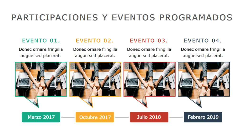 Ejemplos de Diagramas de Líneas de Tiempo Powerpoint con eventos empresariales