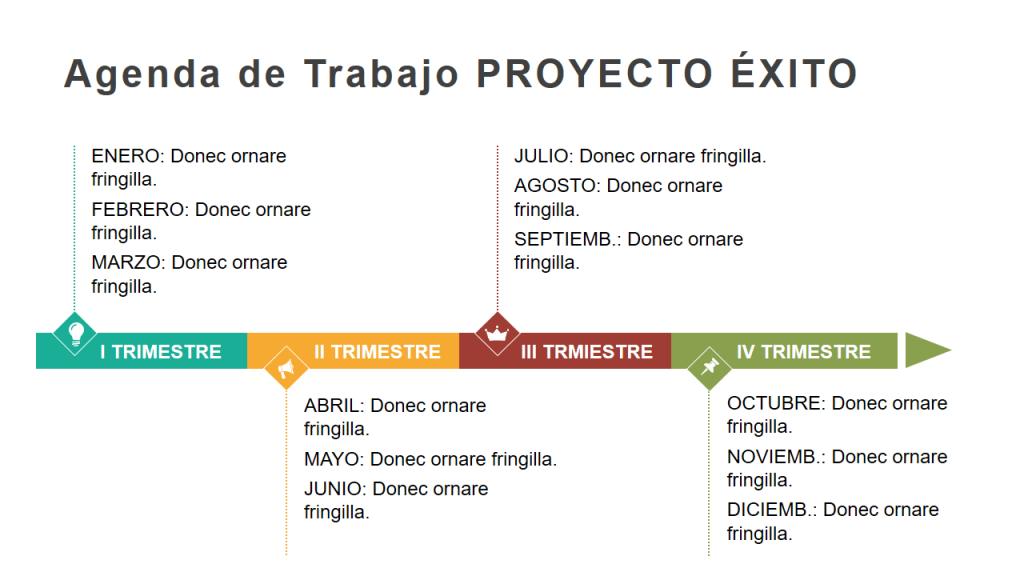 Ejemplos de Diagramas de Líneas de Tiempo Powerpoint para planificación de negocio