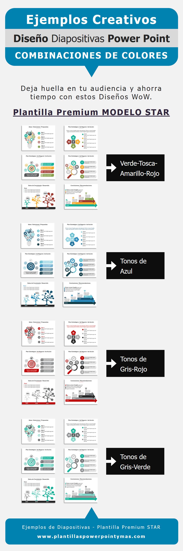 Ejemplos de Combinaciones de Colores para Presentaciones en Power Point Star