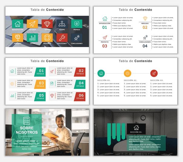 Diapositivas PPT para crear indice en presentaciones