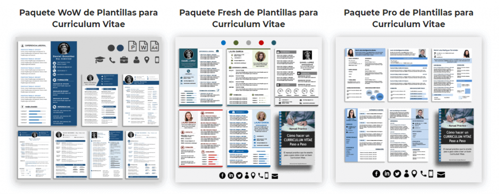 Pack de Plantillas de Curriculum Vitae Word y Power Point