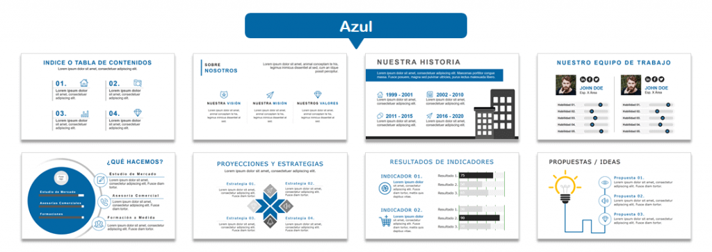 Plantilla de Power Point Modelo Blanco Negro Azul