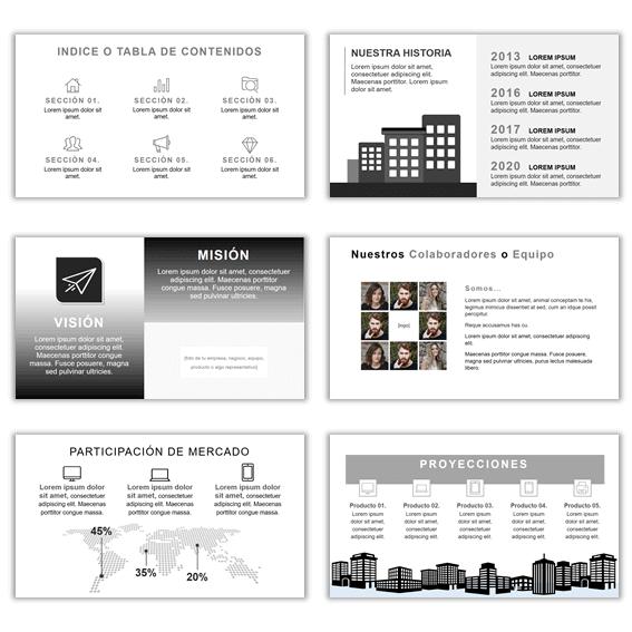 Plantillas de Powerpoint para Presentaciones Modelo Blanco Negro
